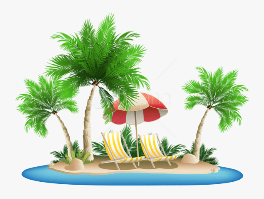 Free Png Download Beach Umbrella With Chairs And Palm - Palm Trees And Beach Png, Transparent Clipart