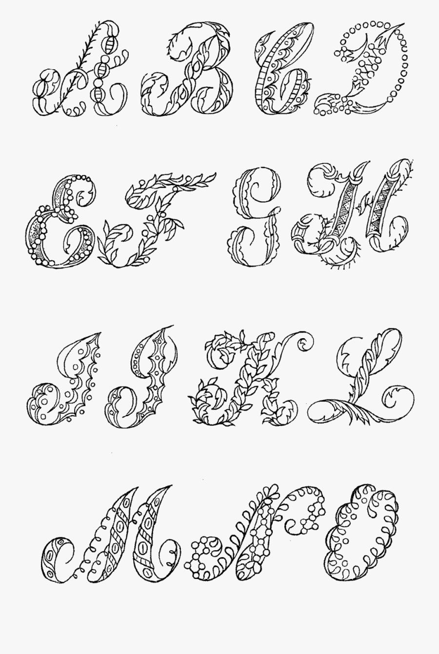 Font Floral Lettering, Transparent Clipart