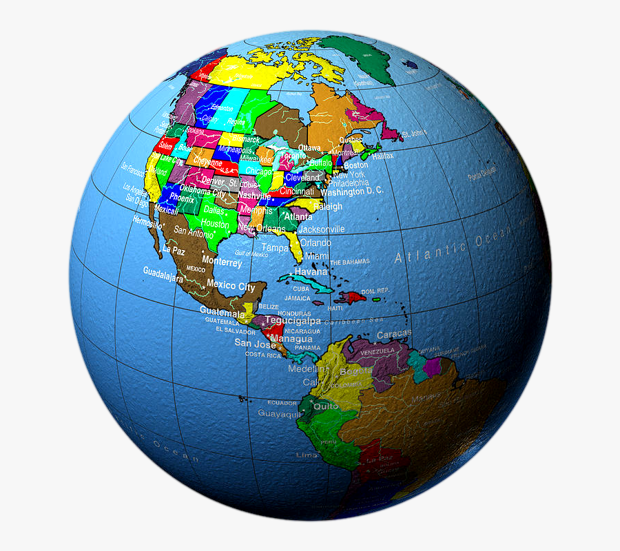 Globe Showing North America And Central America City - World Globe United States, Transparent Clipart