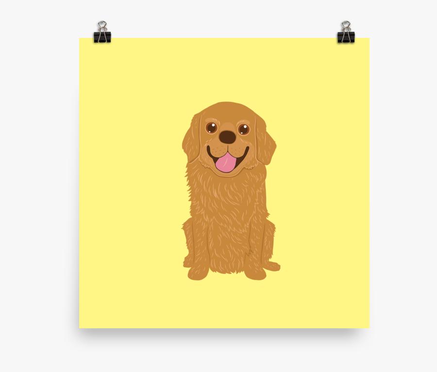 Happy Golden Retriever Dog Illustration Poster - Golden Retriever, Transparent Clipart