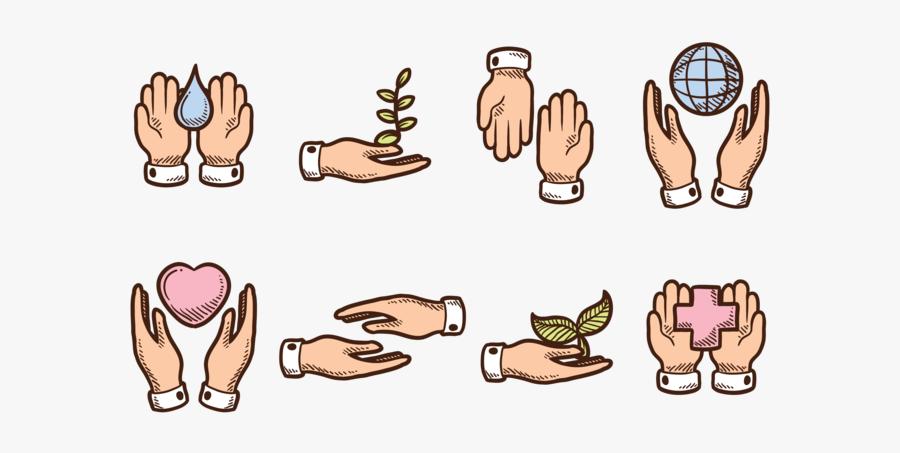 Hand Drawn Healing Hands - Cartoon Healing Hands, Transparent Clipart