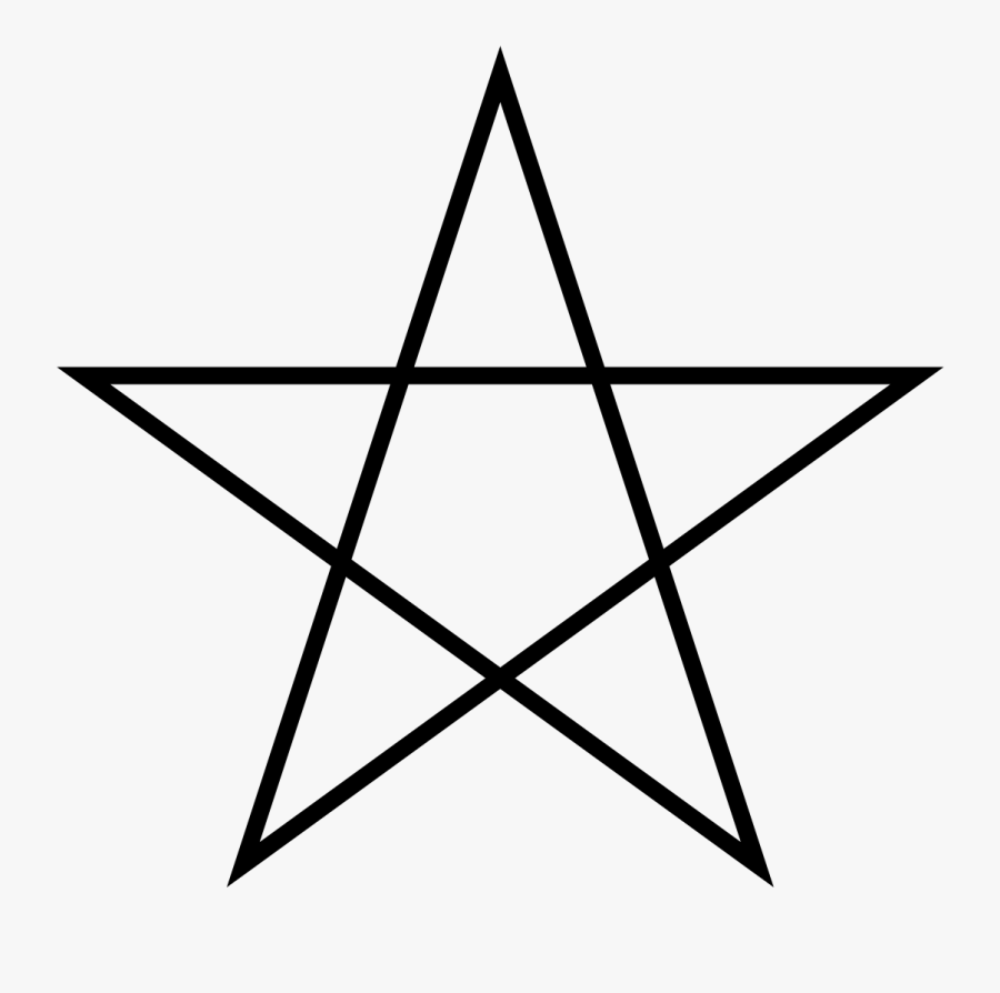 Five Pointed Star Lined - Number Of Triangles In A Star, Transparent Clipart