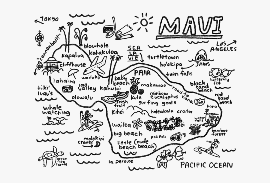 Maui Map Print - Maui Map Black And White, Transparent Clipart