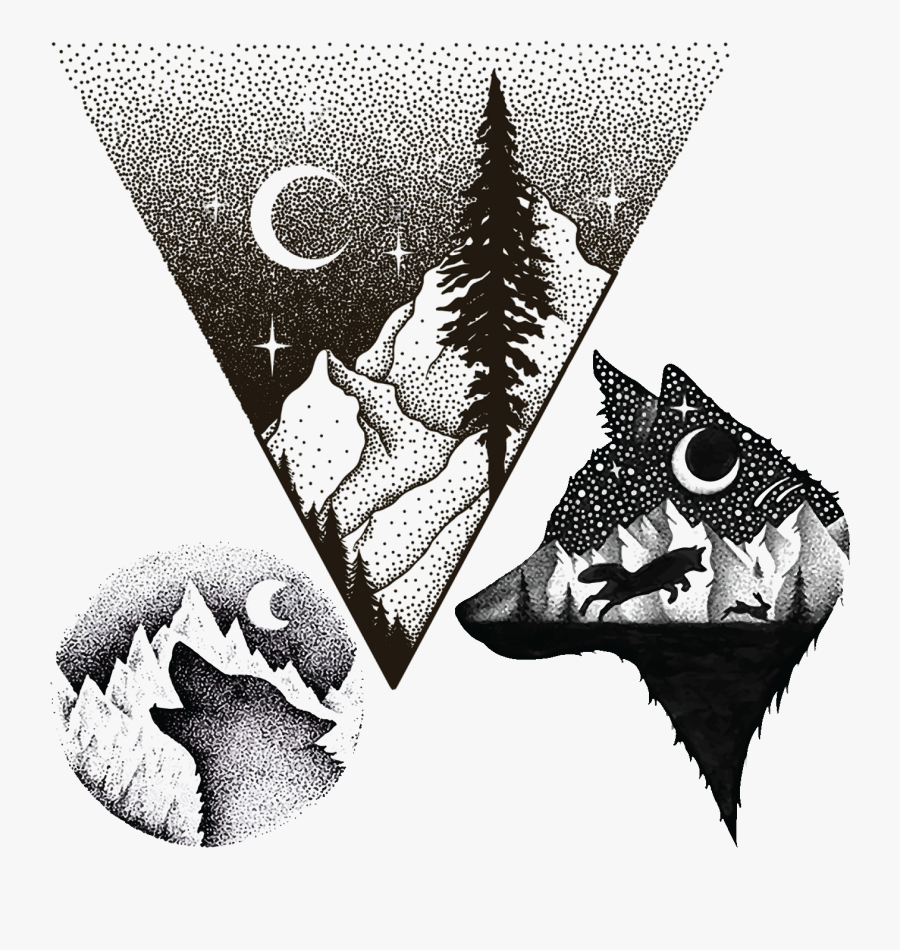 Transparent Mountain Drawing Png - Mountain Triangle And Trees Tattoo, Transparent Clipart