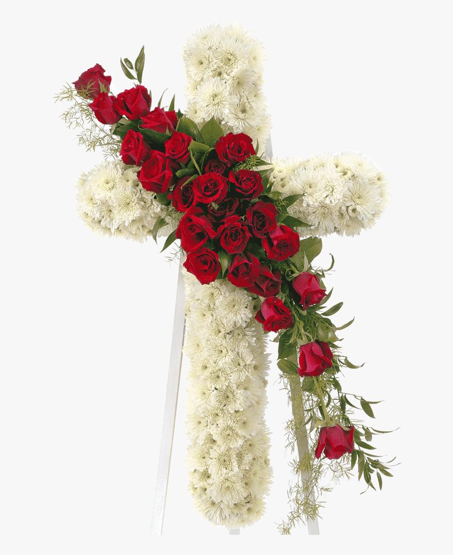 Cut Design,artificial Flower,christmas Family,interior - Funeral Cross Flower Arrangements, Transparent Clipart