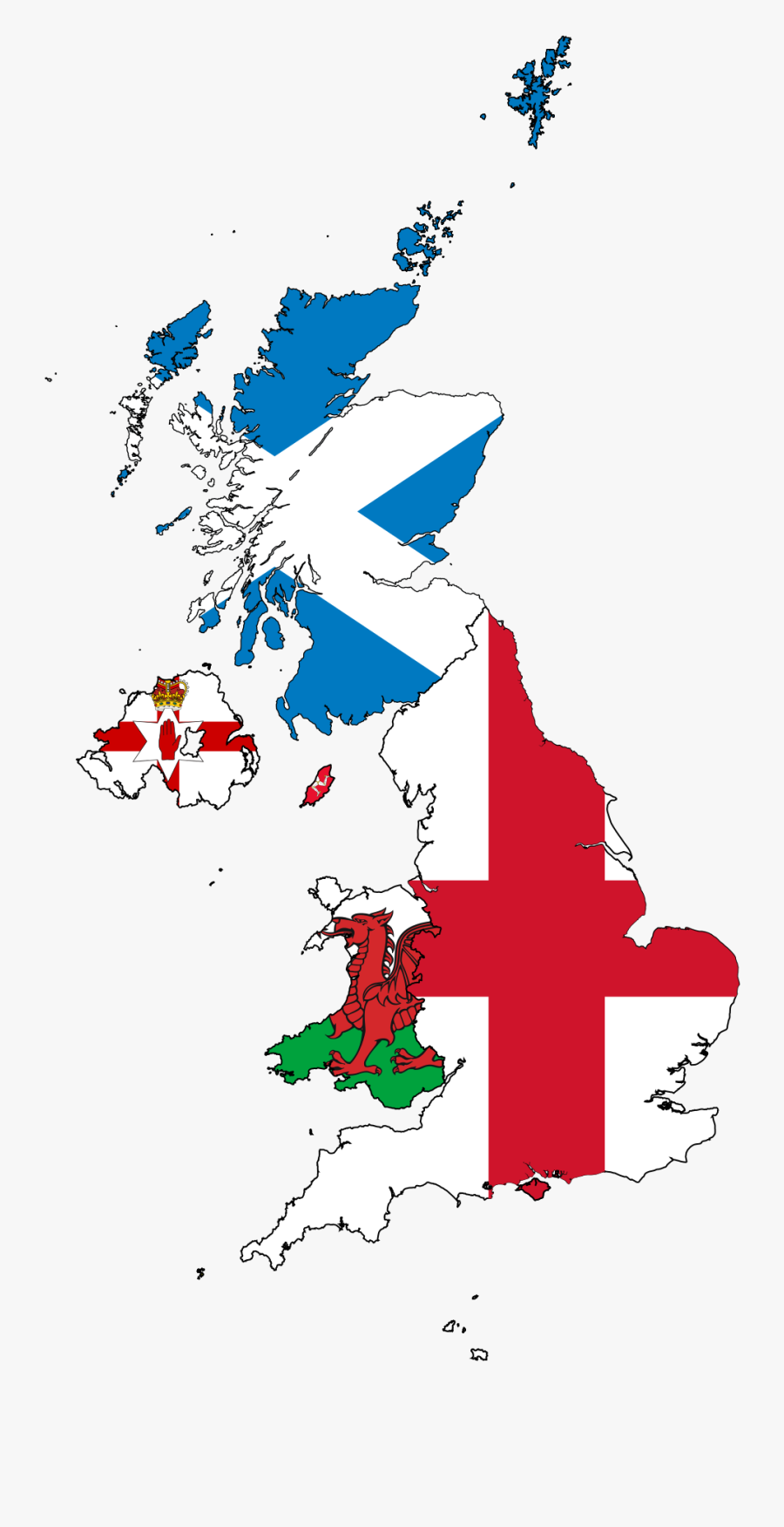 United Kingdom Map Flags, Transparent Clipart