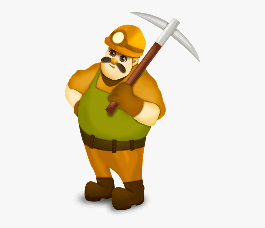 Animated Miner, Transparent Clipart