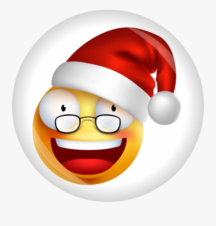 Button Smiley Emoji Weihnachten Ø 50 Mm - Christmas Party Emoji, Transparent Clipart