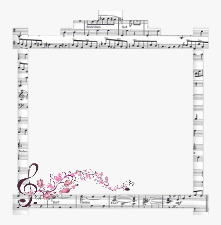 #mq #pink #notes #music #frame #frames #border #borders - Paper, Transparent Clipart
