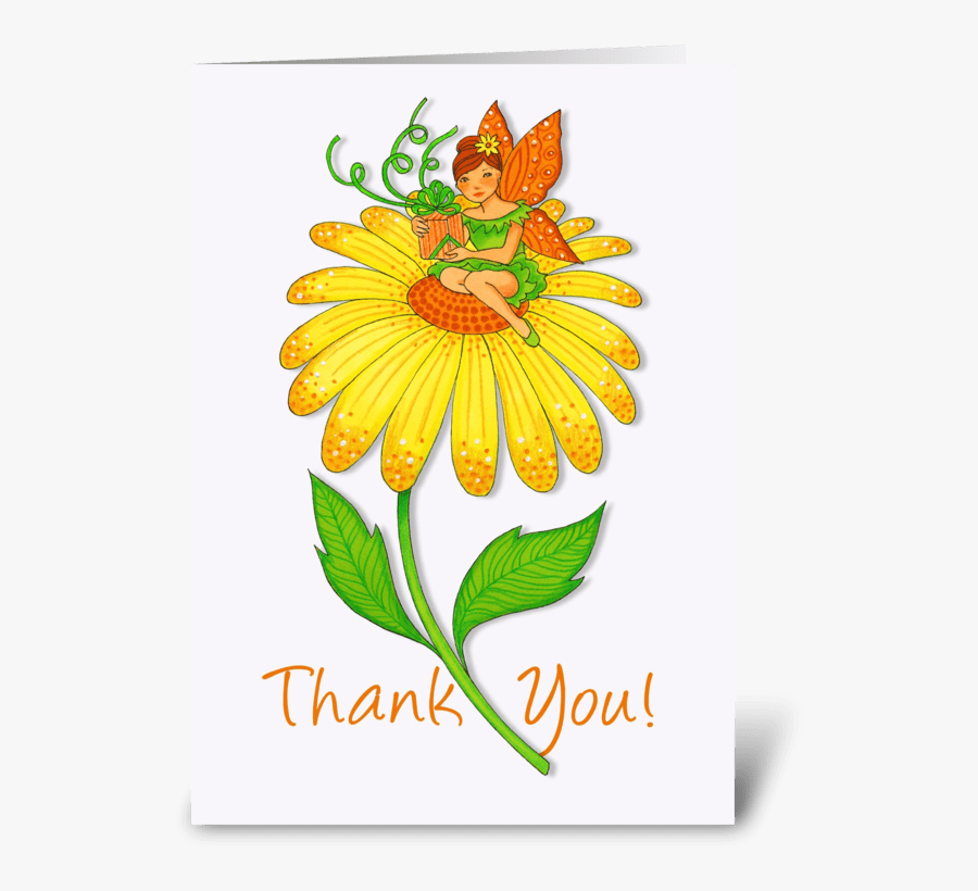 Yellow Flower With Fairy Thank You Greeting Card - Thank You Yellow Flowers, Transparent Clipart