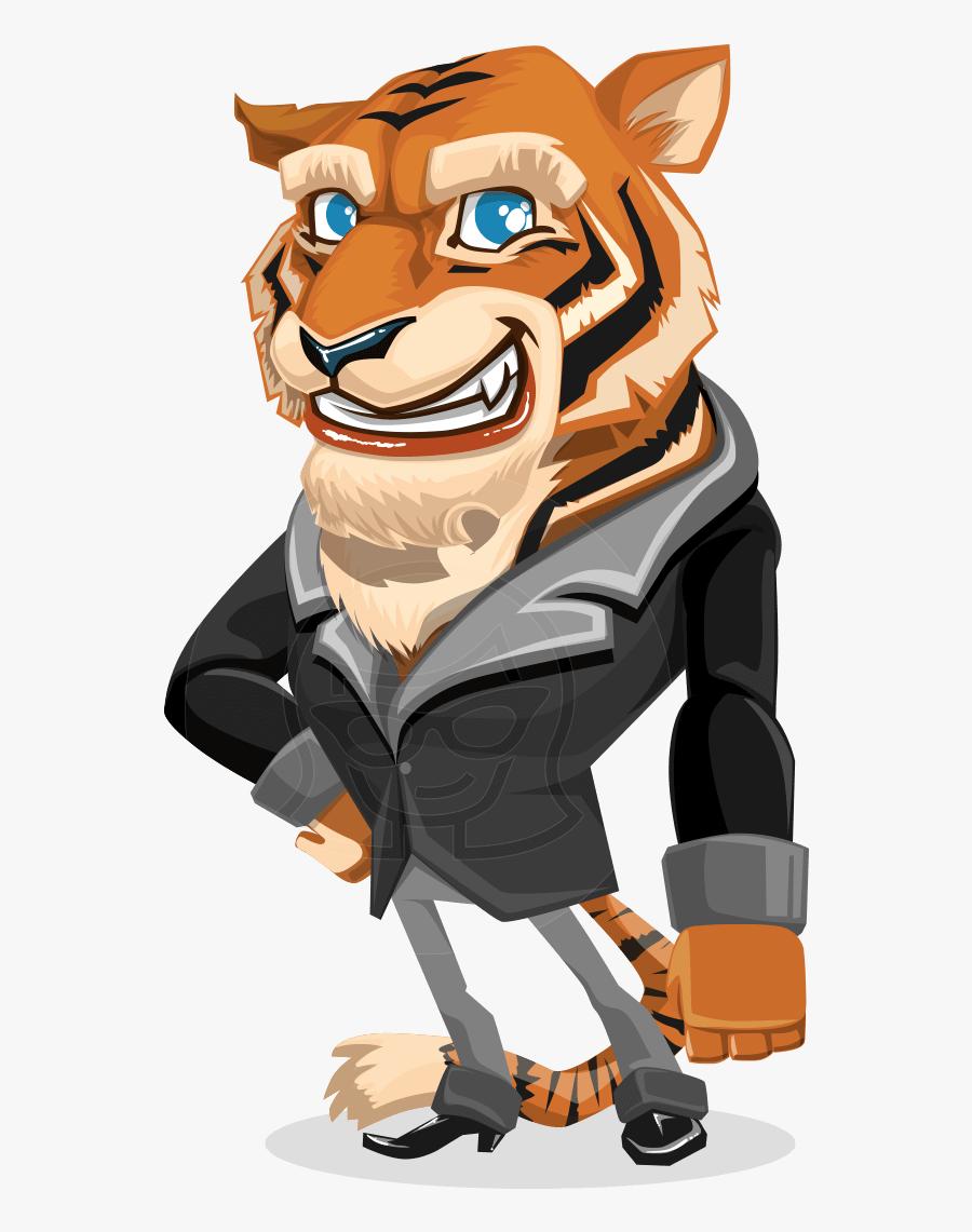 Tiger Businessman Vector Cartoon Character Aka Vice - Character Design Cartoon Tiger, Transparent Clipart