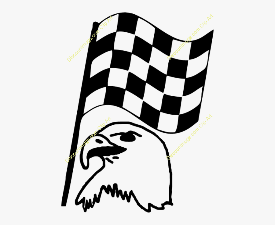Clipart 34764 Flag 4 Eagle With American Mugs T Shirts - Finish Line Flag Gif, Transparent Clipart