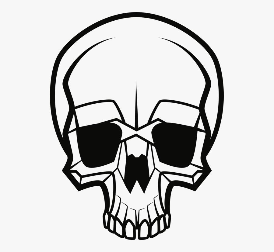 Line Art,head,emblem - Public Domain Skull Vector, Transparent Clipart