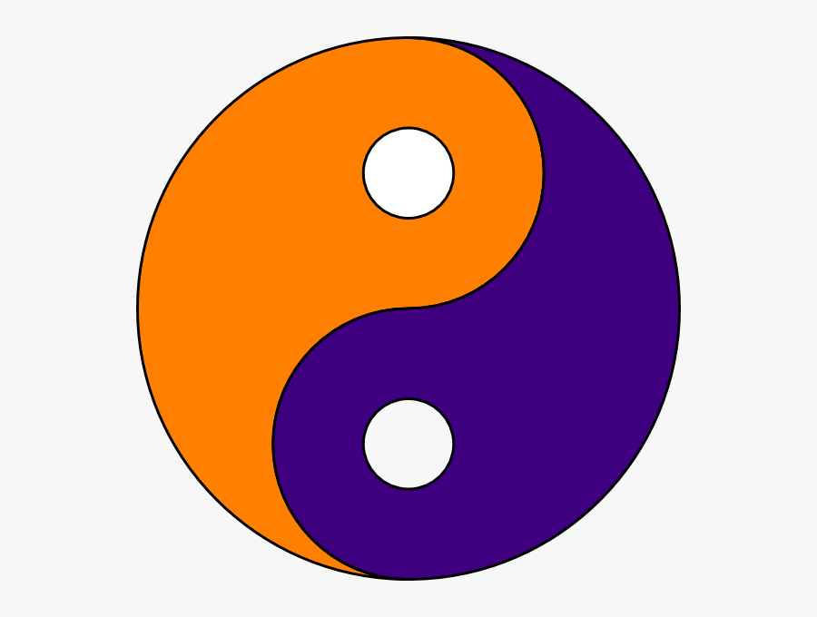 Orange And Purple Yin Yang, Transparent Clipart