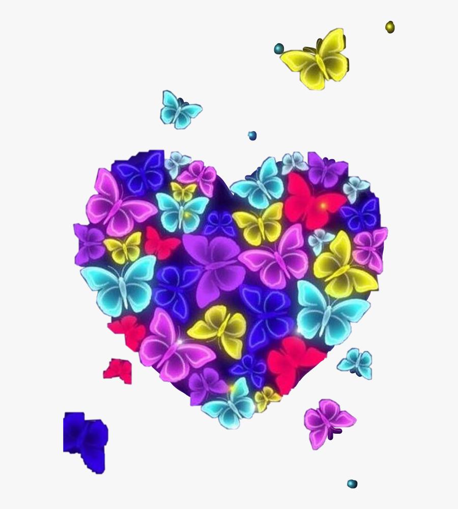 #bright #light #neon #butterflies #art #heart #flying - Imagen Mariposas Bonitas, Transparent Clipart