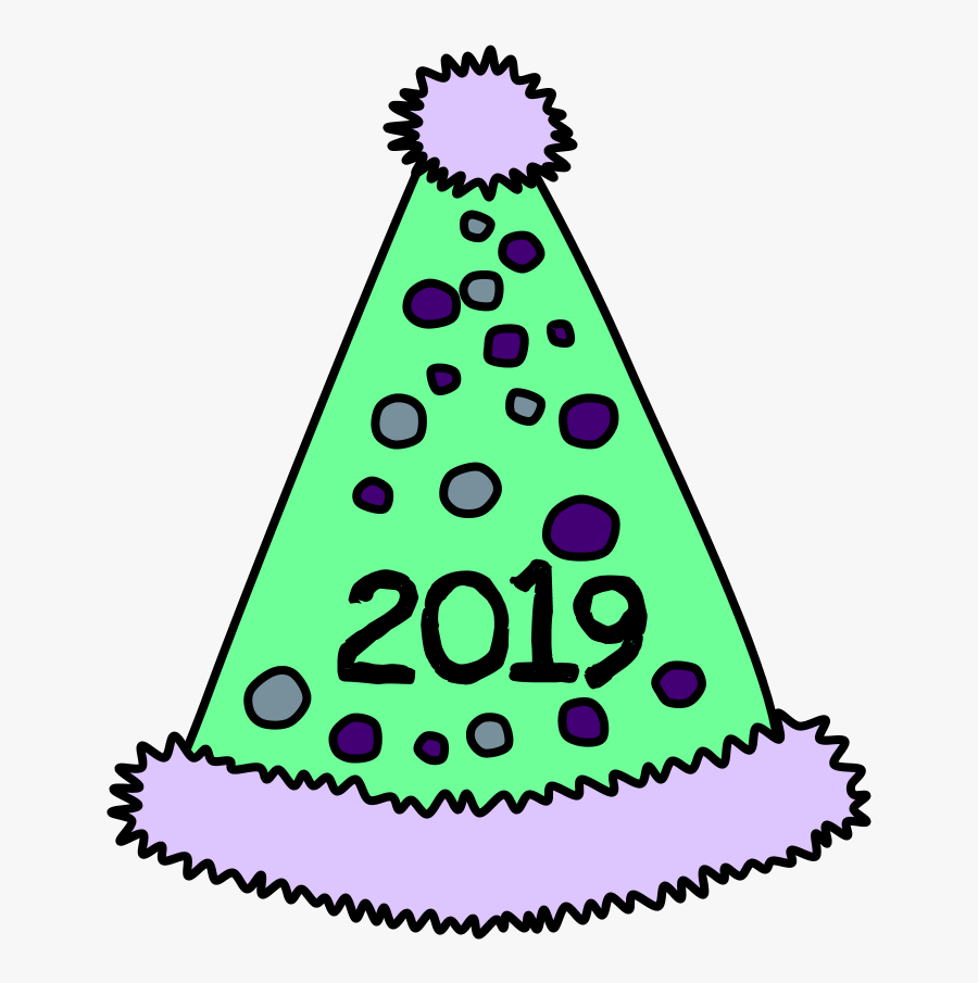 Party Hat, Pom-pom, Tinsel, Dots, 2019, Purple, Green, - Party Hat, Transparent Clipart