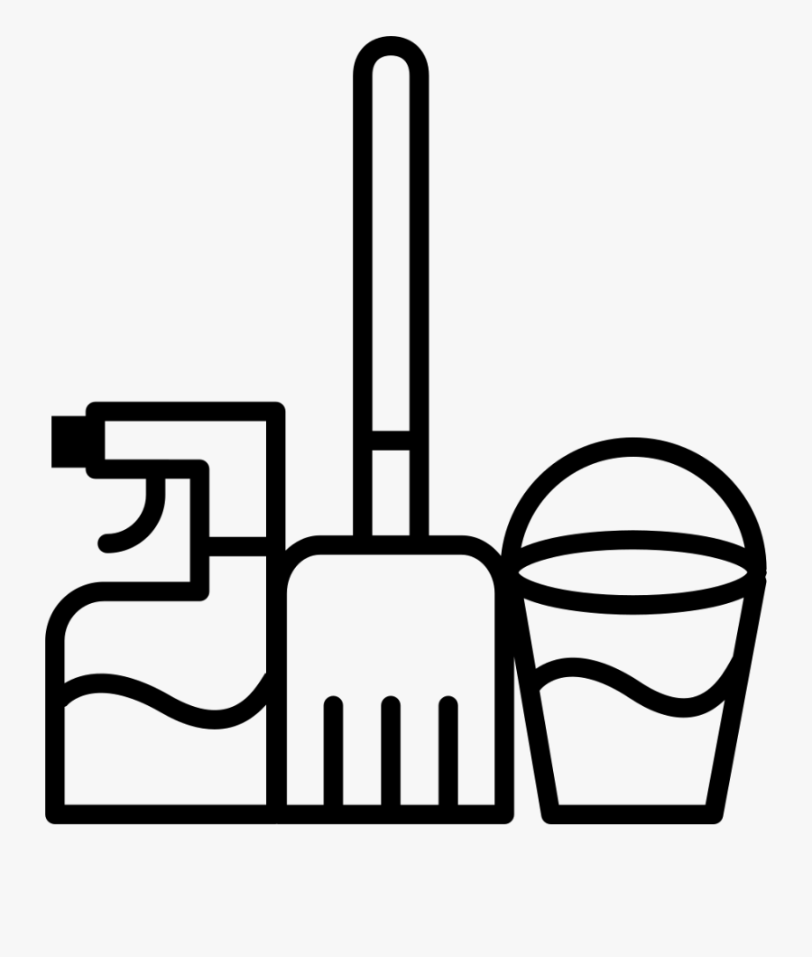 Mop Water Bucket And Cleaning Spray - Cleaning Flat Icon Png, Transparent Clipart