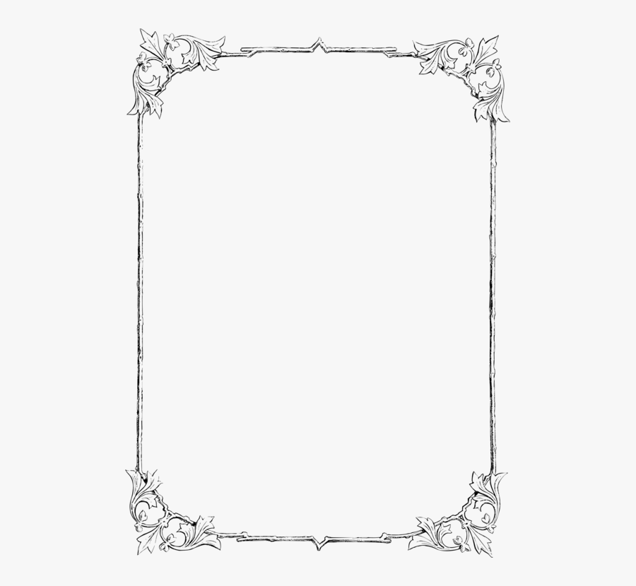 Picture Frame,rectangle,borders And Frames - Border In Line Drawing, Transparent Clipart