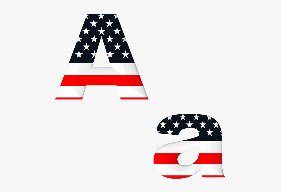 Letter A American Flag, Transparent Clipart