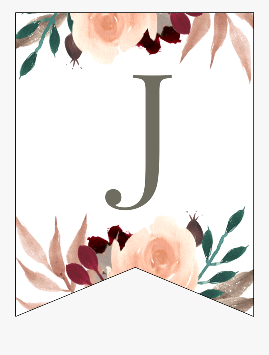 Letter J Penant Flag With Pink, Green, Brown, And Burgandy - Floral Banner, Transparent Clipart