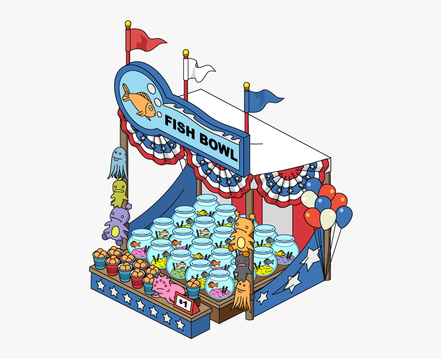 Traumatized Fish Carnival Stall - Carnival Games Cartoon Transparent, Transparent Clipart