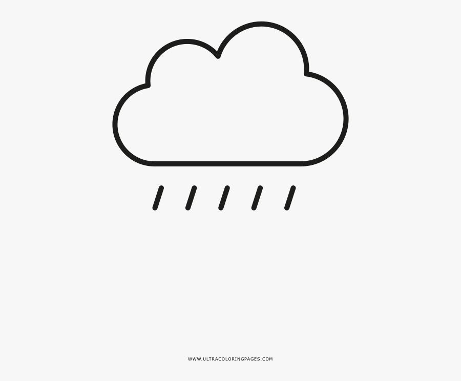 Rain Cloud Coloring Page - Line Art, Transparent Clipart