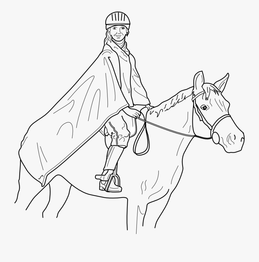 Horse And Rider - Draw Person Riding Horse, Transparent Clipart