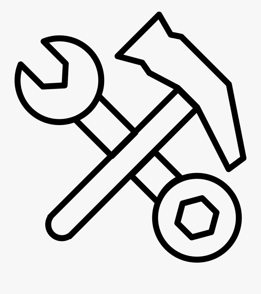 Hammer And Double Sided Wrench Tools Outlines - Tool Outlines, Transparent Clipart
