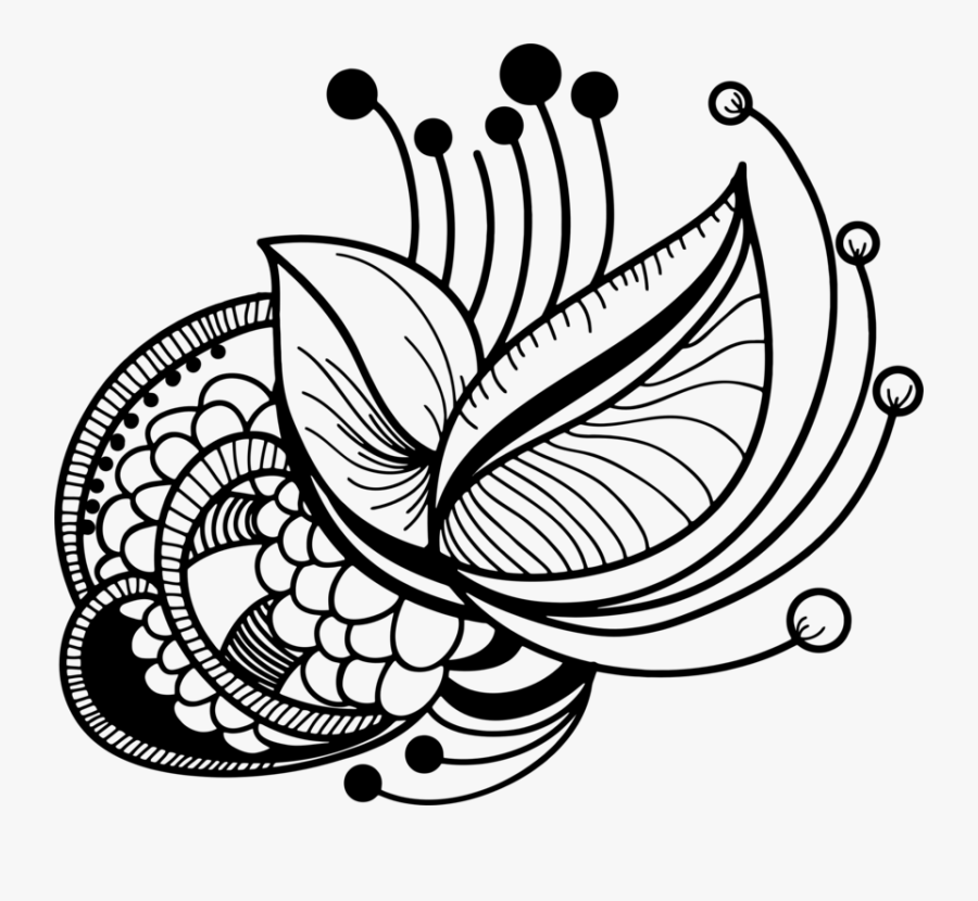 Symmetry,monochrome Photography,monochrome - Floral Line Art Png, Transparent Clipart