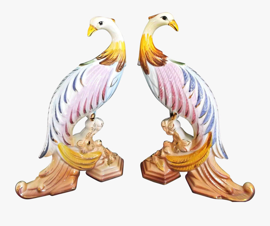 A Pair Of Colorful Vintage Bird Figurines Made In Portugal - Illustration, Transparent Clipart