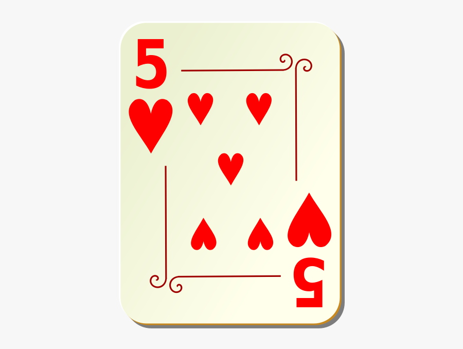 Five Of Hearts Vector Clip Art - 5 Of Heart Playing Card, Transparent Clipart