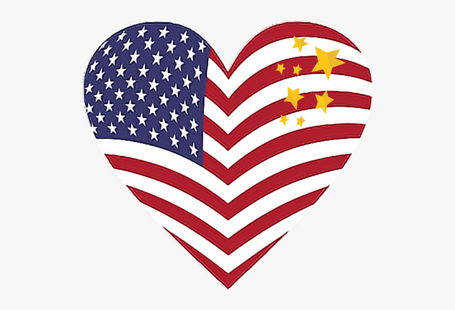 #usa #flags #land #color #decorate #stars - Usa Flag Heart Png, Transparent Clipart