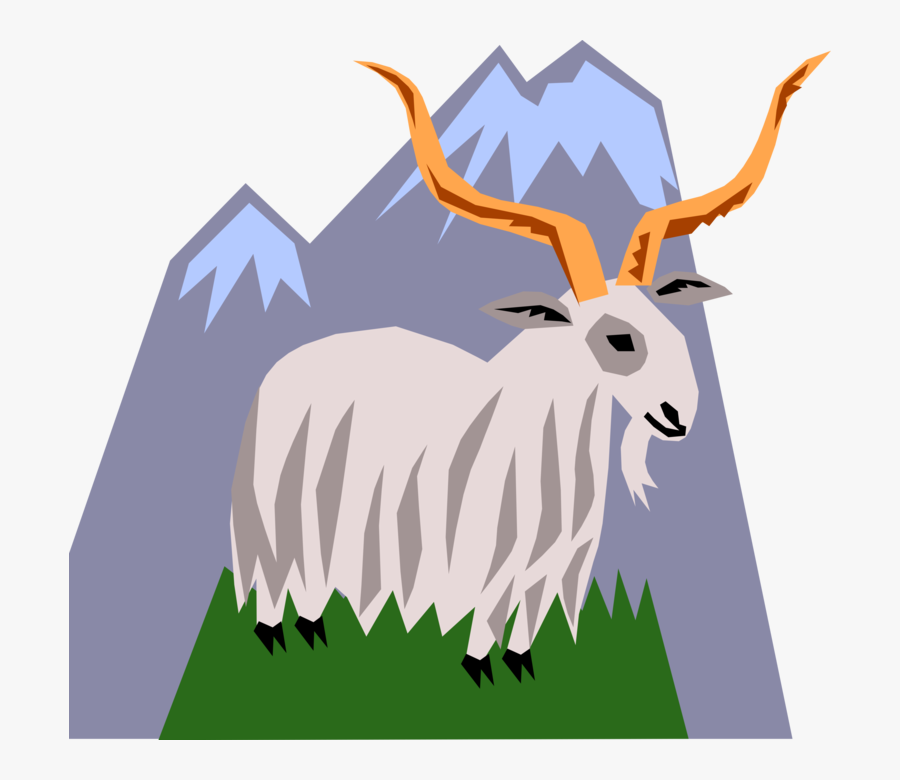 Vector Illustration Of Mountain Goat With Horns Climbing - Antelope, Transparent Clipart