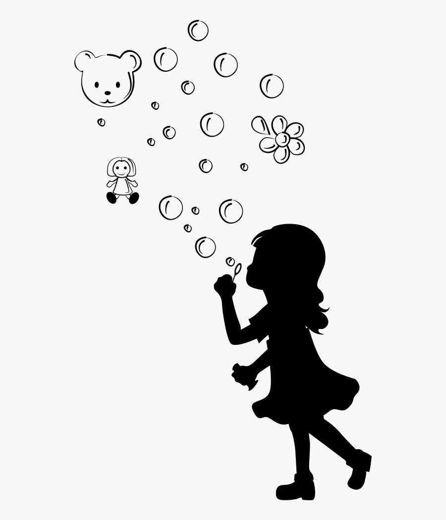 Little Girl Blowing Bubbles Silhouette , Free Transparent ...