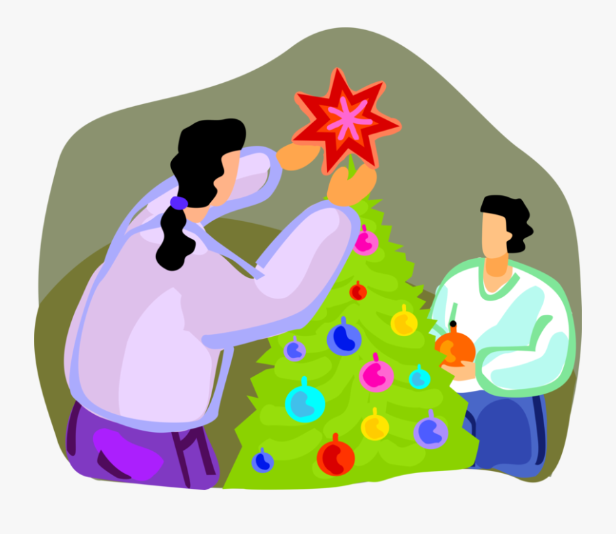 Vector Illustration Of Decorating Christmas Tree With - Illustration, Transparent Clipart