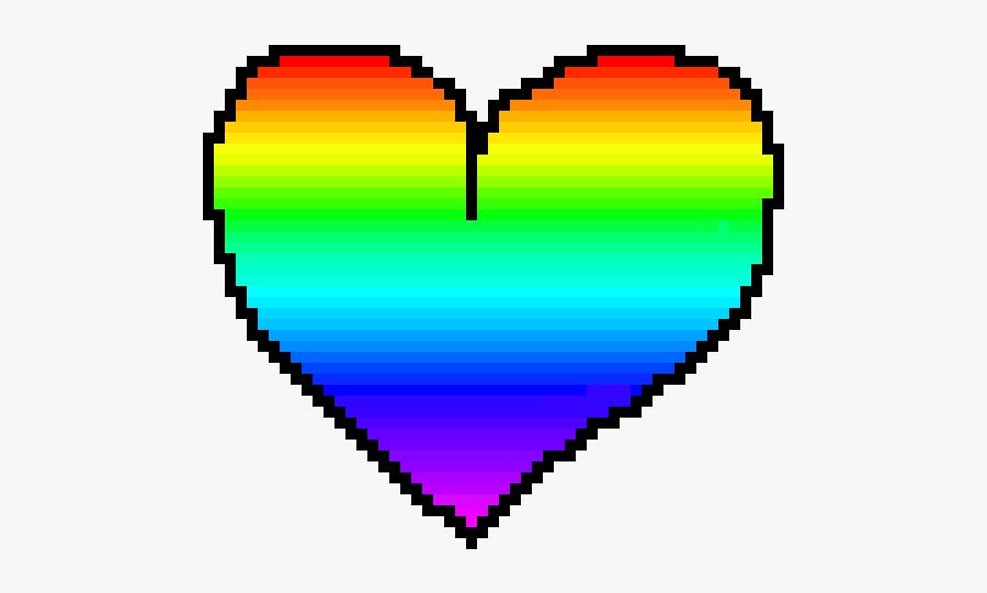 Rainbow Pixel Art Heart, Transparent Clipart