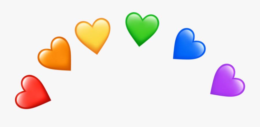 #rainbow #heart #hearts #emojiheart #emojihearts #heartemoji - Green And Red Heart Emoji, Transparent Clipart