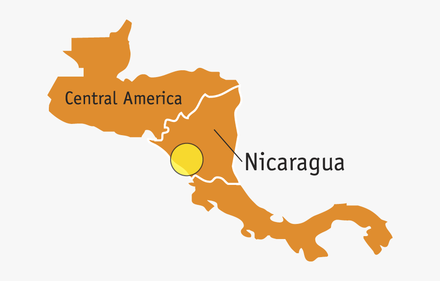 Nicaragua Map Region - Central America Map Vector, Transparent Clipart