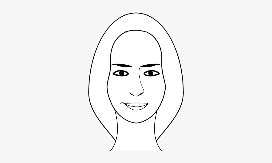 Face Of A Female Person With Long Hair Vector Clip - Illustration, Transparent Clipart