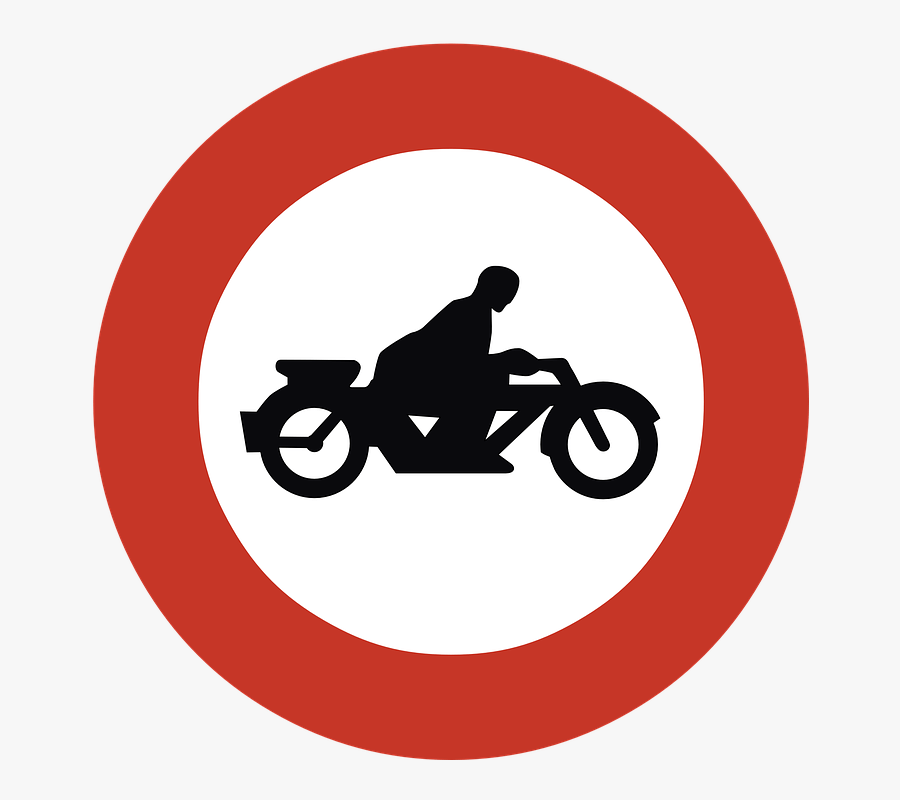 No Motorcycles Road Sign - No Motorcycles Sign, Transparent Clipart