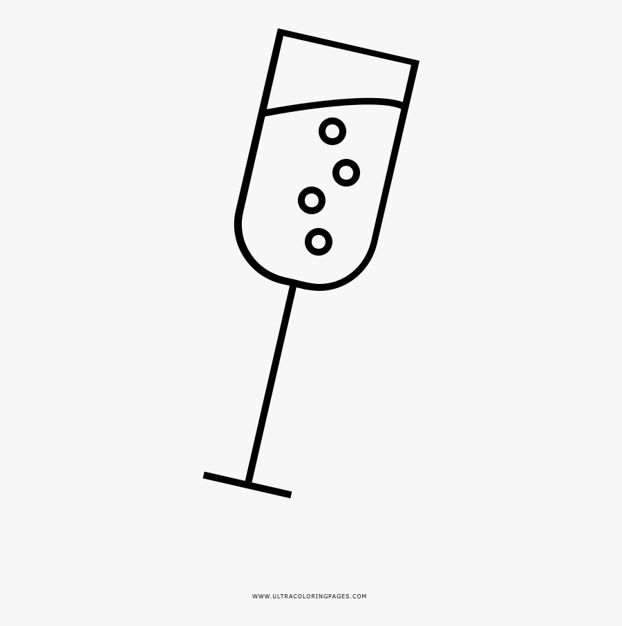 Champagne Coloring Page - Line Art, Transparent Clipart
