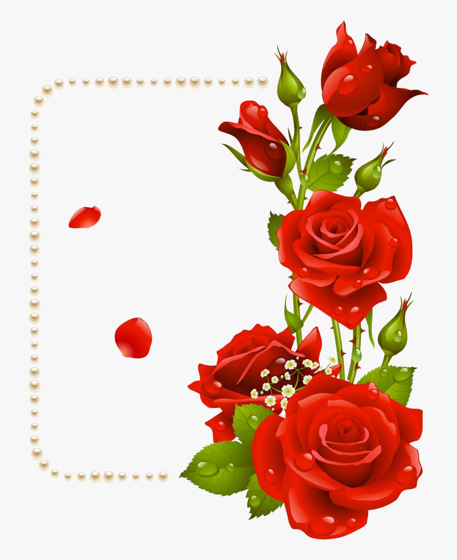 Rose Flower Clip Art - Flower Rose Border Design, Transparent Clipart