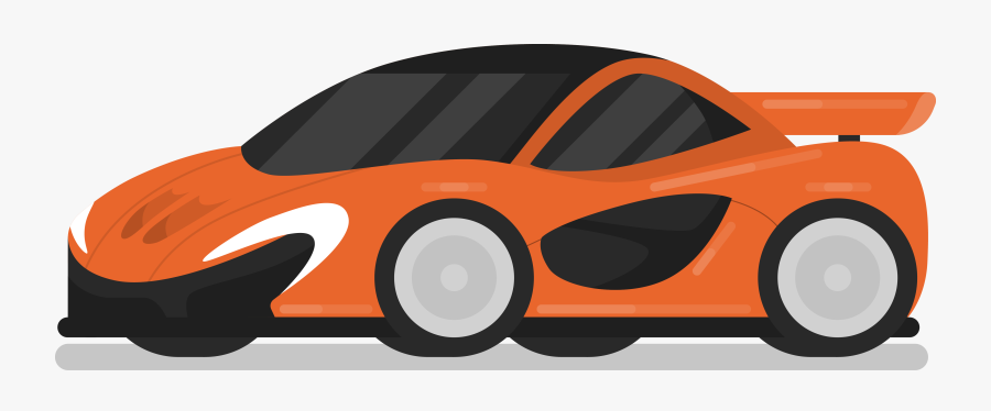 Transparent Orange Car Clipart - Orange Sports Car Cartoon, Transparent Clipart