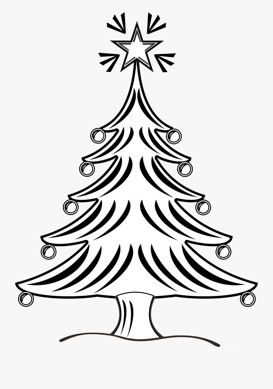 X Mas Tree Clipart Black And White, Transparent Clipart
