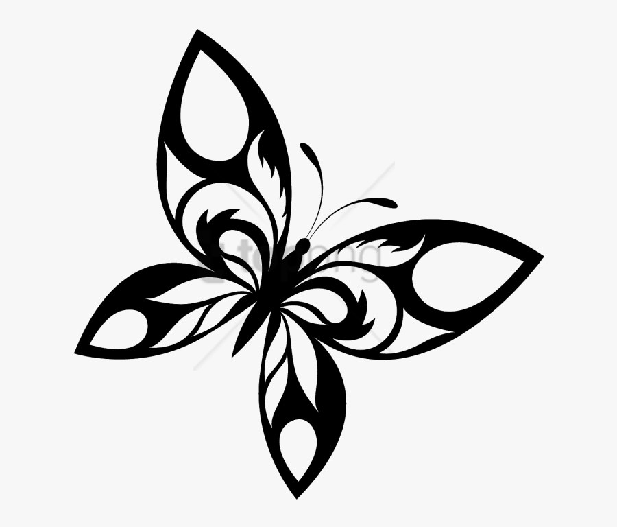 Free Png Flying Butterfly Tattoo Png Image With Transparent - Butterfly Designs Black And White, Transparent Clipart