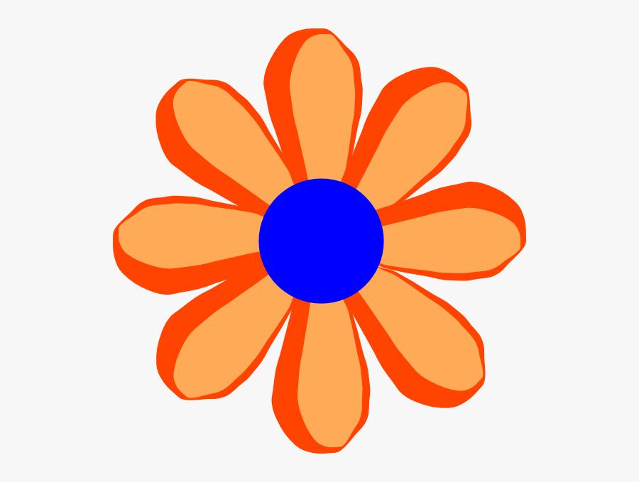 Flower Cartoon Orange Svg Clip Arts - Cartoon Flower Transparent Background, Transparent Clipart