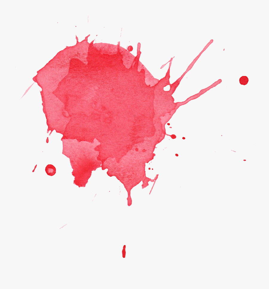 Stain Red Watercolor Splatter - Transparent Watercolor Splash Red, Transparent Clipart