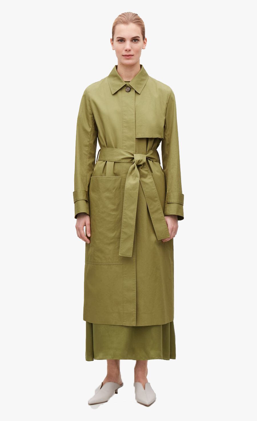 Trench Coat For Women Png Image Download - Cos Green Trench Coat, Transparent Clipart