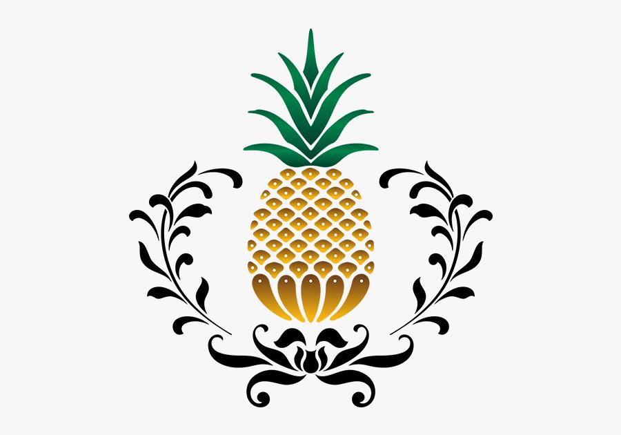Stencil Art Pineapple, Transparent Clipart