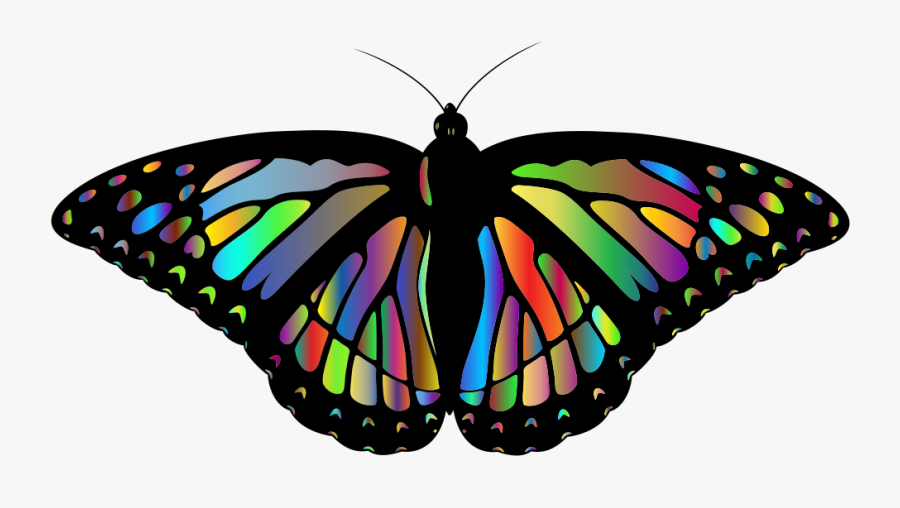 Prismatic Monarch Butterfly Ii - Rainbow Monarch Butterfly, Transparent Clipart